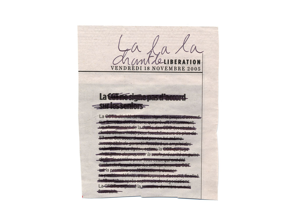 Claude Closky, 'Lalala, chant de libération du 18 novembre 2005 [Lalala, Song of Liberation, November 18th 2005]', 2005, ball point pen on printed matter, collage, 40 x 30 cm.